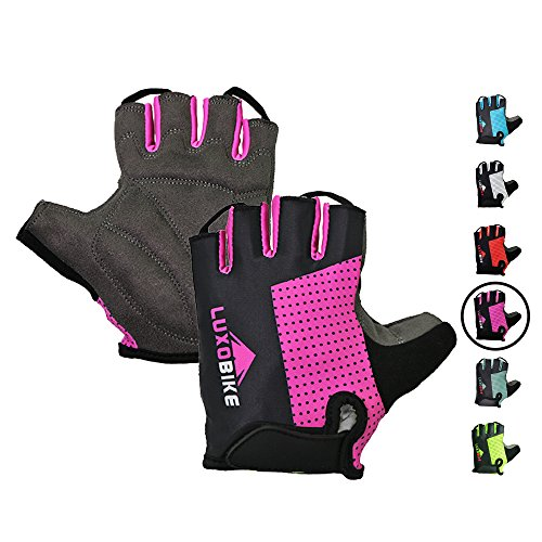 LuxoBike Cycling Gloves Bicycle Gloves Bicycling Gloves Mountain Bike Gloves Women - Cool Anti Slip Shock Absorbing Padded Breathable Short Half Finger Womens Girls Teen Childrens Sports Glove