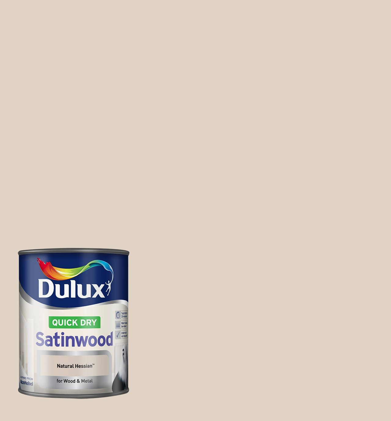 Dulux Quick Dry Satinwood Paint, 750 ml - Barley White AkzoNobel 750ML