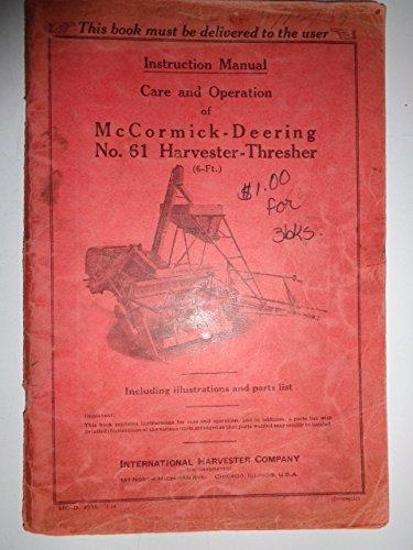 IH International McCormick Deering 61 Harvester Thresher Owners / Operators / Parts Catalog Book Manual ORIGINAL 4535