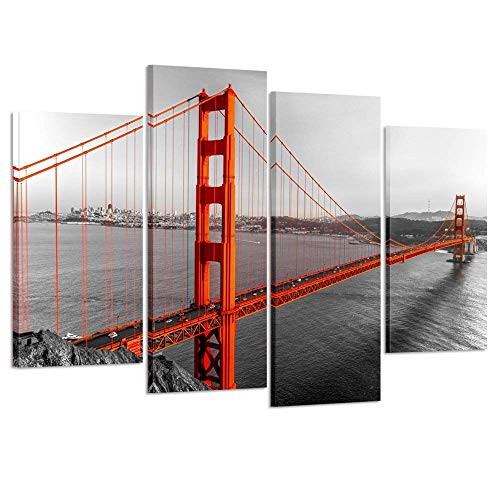 Kreative Arts Canvas Print Beautiful Golden Gate Bridge San Francisco California Black White Red Wall Art Home Decoration Picture Framed 4 Panel Ready to Hang ()