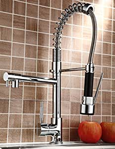 Rozin Pull Down Kitchen Sink Faucet Swivel Spout Mixer Chrome Finish