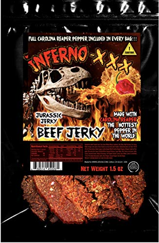 (Inferno - XXX HOT Beef Jerky Every 1.5 oz bag includes (1) Carolina Reaper Pepper the Hottest Pepper in the World! Can you handle the Heat? Take the Challenge! )