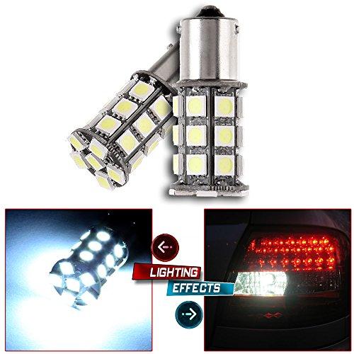 cciyu 2 Pack High Power Xenon White 6000K 1156 BA15S 18SMD LED Parking DRL Turn Signal Backup Reverse Brake Light Bulb ()
