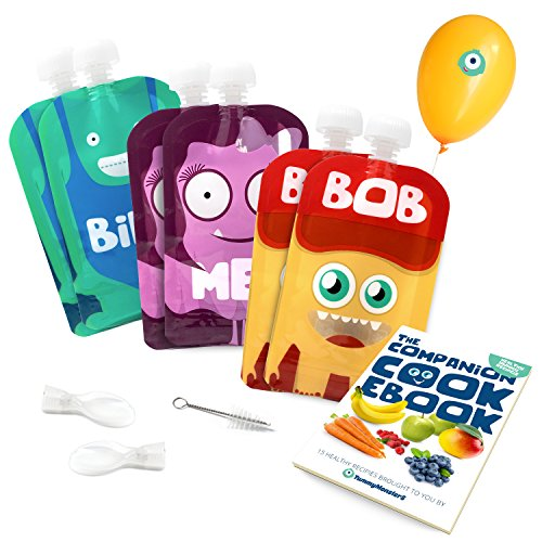 Yummy Monsters Reusable Food Pouch - Pack of 6 - 5 oz / 140 ml Size - 2 Spoons, Small Brush Included & Bonus eBook with Recipes