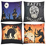 Anickal Set of 4 Halloween Decorative Throw Pillow Covers with Scary Skull Black Cat and Witch Design 18 x 18 Inches for Halloween