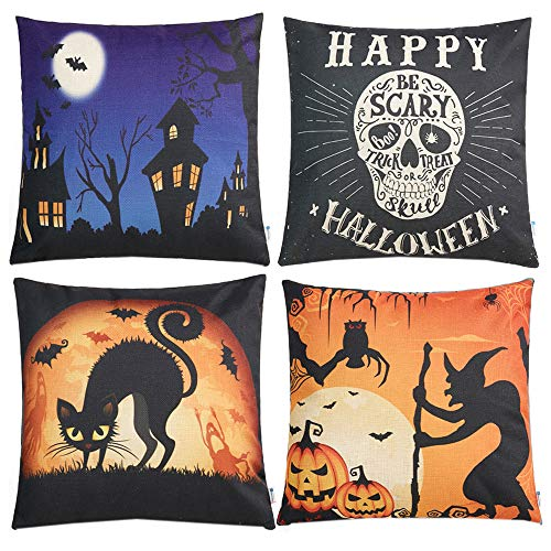 Anickal Set of 4 Halloween Decorative Throw Pillow Covers with Scary Skull Black Cat and Witch Design 18 x 18 Inches for Halloween -