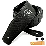 Guitar Strap for Electric Guitar, Acoustic Guitar and Bass, Includes 2 Strap Locks, 1 Leather-made Guitar Strap Button, Best for Guitar Players (Black-Snakeskin)