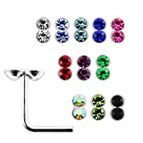 20 Pieces Box Set of Double Round Crystal Stone Top Sterling Silver L Bend Nose Stud Jewelry