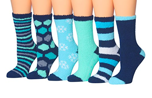 Tipi Toe Women's 6-Pairs Soft Fuzzy Cozy Anti-Skid Crew Socks, (sock size 9-11) Fits shoe size 6-9, FZ08 Snuggle Socks
