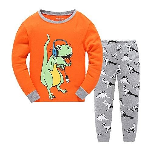 - Kid Baby Boy Clothing Pajamas Sleepwear Outfit Set 2 3 4 5 6 7 (4T, Orange)