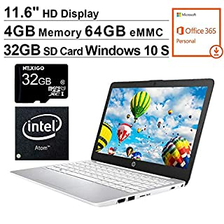 2020 HP Stream 11.6 Inch Laptop, Intel Atom x5 E8000 up to 2.0 GHz, 4GB RAM, 64GB eMMC, Win10 S (1 Year Office 365 Personal Included), White + NexiGo 32GB MicroSD Card Bundle