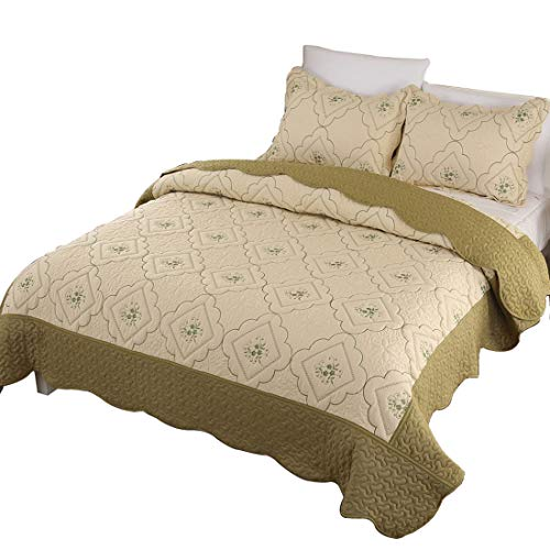 Junhome Summer Quilts King Size,Hypoallergenic Bedspreads King,Reversible Olive&Beige Embroidered Floral Coverlet Set,3 Piece Bedding Bed Set(1 Quilt + 2 Pillow Shams)
