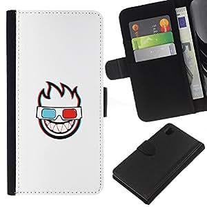 LECELL--Cuero de la tarjeta la carpeta del tirón Smartphone Slots Protección Holder For Sony Xperia Z1 L39 -- CARA LLAMEANTES 3D --
