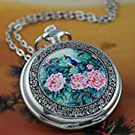 VIGOROSO Quartz Beautiful Peony Bird Enamel Painting Steampunk Silver Pocket Watches Gift Box 9