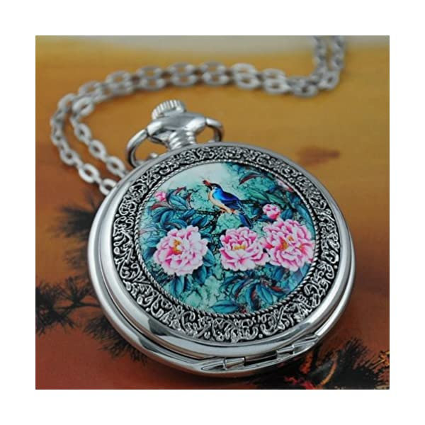 VIGOROSO Quartz Beautiful Peony Bird Enamel Painting Steampunk Silver Pocket Watches Gift Box 4