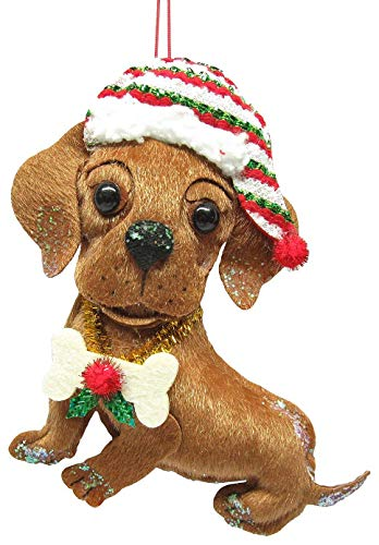 Fabric Dachshund Dog Ornament Brown/White/red/Green ()