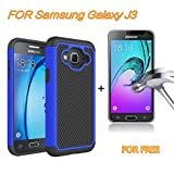 J3 Case, Express Prime Case, Amp Prime Case, SAUS Hybrid Dual Layer Armor Shock Absorption Defender Bumper Protective Case With FREE tempered glass screen protector For Samsung Galaxy J3 (Blue)