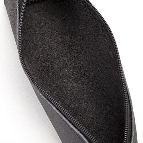 Antony Olivier #1 Beste Qualität aus echtem Leder Swartz mit Reißverschluss Federmäppchen Tasche für Männer, Frauen, Studenten und Profis, für Schreibwaren & Utensilien, in einer Geschenkbox Black