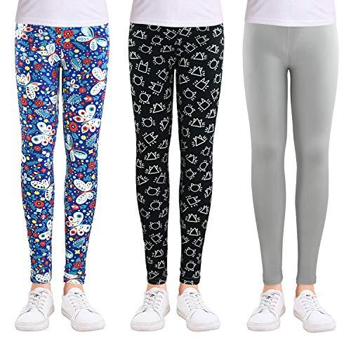 slaixiu Girls Leggings Stretchy Kids Pants Classic Printing Flower Pattern(GP02_No.5_85#)