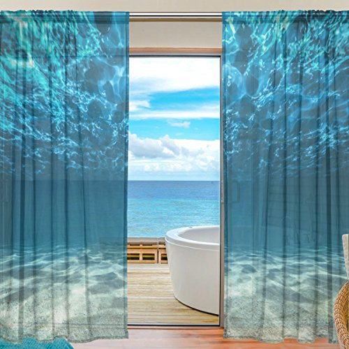 SEULIFE Window Sheer Curtain Ocean Sea Bottom Underwater World Voile Curtain Drapes for Door Kitchen Living Room Bedroom 55x84 inches 2 Panels