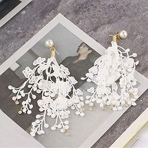 JDFESHUME Vintage Negro Blanco Largo De Encaje Borla Pendientes De Gota Para Las Mujeres Estilo Coreano Flor Cuelga Exquisito Pendiente