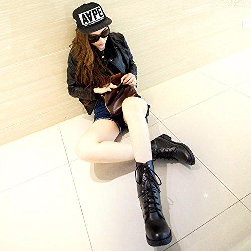 Martin Invierno Botines Casual Zapatos Moda Antideslizante K Youth® para Negro Botas Mujer X8Yv5q