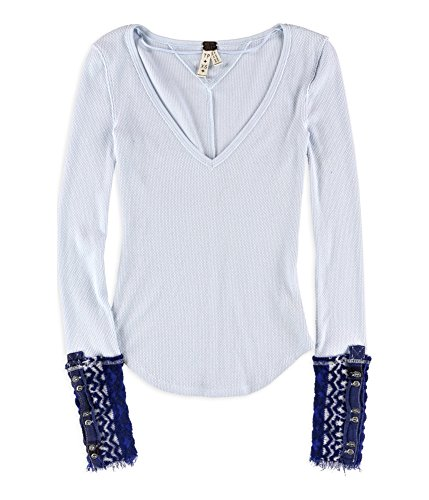 Free People Womens Textured Contrast Trim Casual Top Blue Xs