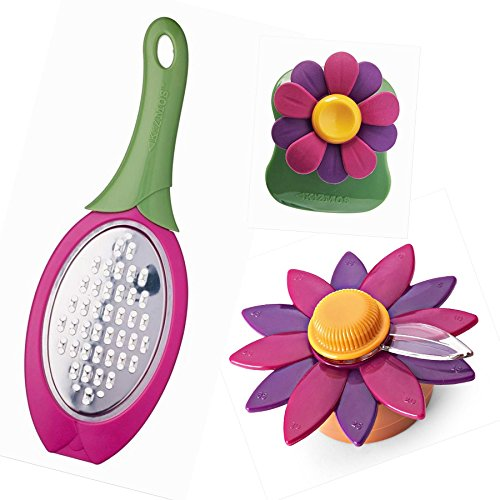 Kizmos Flora Kitchen Tool Set, Hand Grater, Magnetic Timer, Palm Peeler, 3pc Set ()