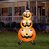Halloween Inflatable 7' Pumpkin Stack With Witch Hat By Gemmy
