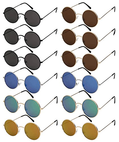 Edge I-Wear 12-Pack Vintage Inspired Round Circle Frames w/Flat Lens - For Round Frames Best Faces