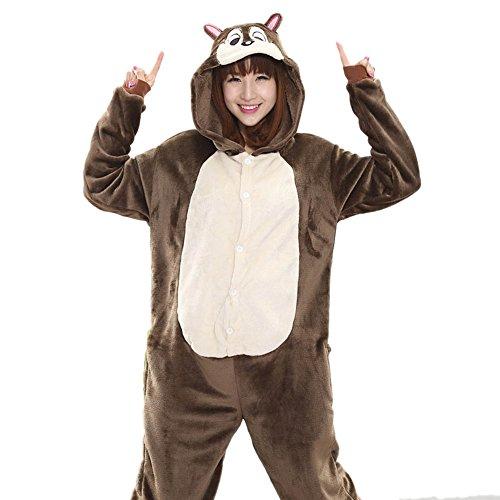 [I'MQueen Womens Chipmunk Onesie Anime Pyjamas for Christmas Halloween Costumes] (Madara Uchiha Halloween Costume)