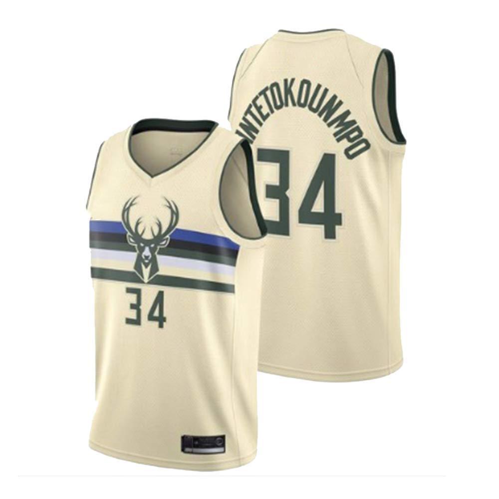 BALL-WHJ Camiseta De Hombre - NBA Bucks 34# Antetokounmpo Bordado ...