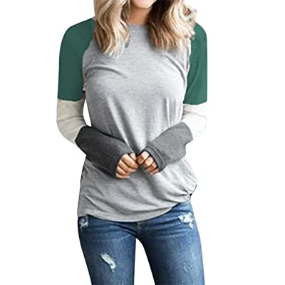 Tops for Women Casual Patchwork Shirts Crew Neck Long Sleeve T-Shirt Loose Sweatshirt Pullover Blouse: Clothing