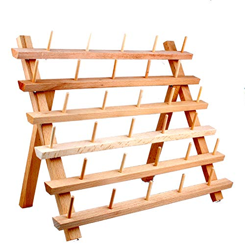 (NW Wooden Thread Holder Sewing and Embroidery Thread Rack and Organizer Thread Rack for Sewing (30-Spool))