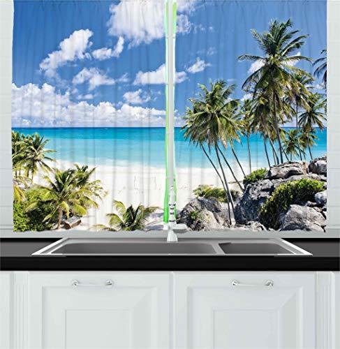 Ambesonne Summer Kitchen Curtains, Bottom Bay Barbados Beach