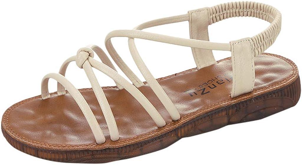 Sandalias Planas Para Mujer De Verano Sin Mon Sandalias Elegantes Para Mujer Con Banda Elástica Sandalias De Playa Casual Gladiador Blanco Clothing Amazon Com