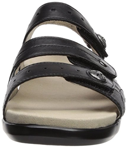 Aravon Womens Pc Three Strap Sandal Black Leather ywAi1cg
