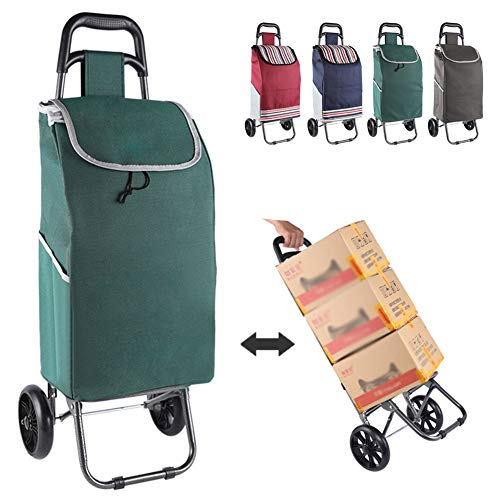 Aojid Shopping Trolley On Wheels Foldable Compact with Removable Bag,Waterproof Heavy Duty Extra Large Grocery Bag Push/Pull Carts for Young and Old,Green