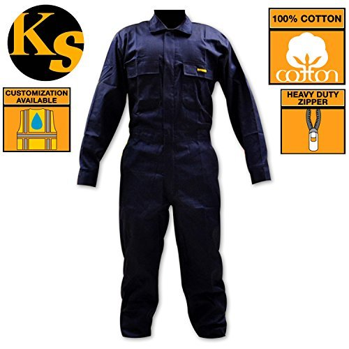 KwikSafety Class 3 Multi-Purpose Construction Safety Coverall Workwear Jumpsuit,100% Cotton, Dickies Work Clothes, Blue Coverall, Clothes Work, Jumpsuit, Navy Blue, Multiple Pockets, Size XL (Protection Suit)