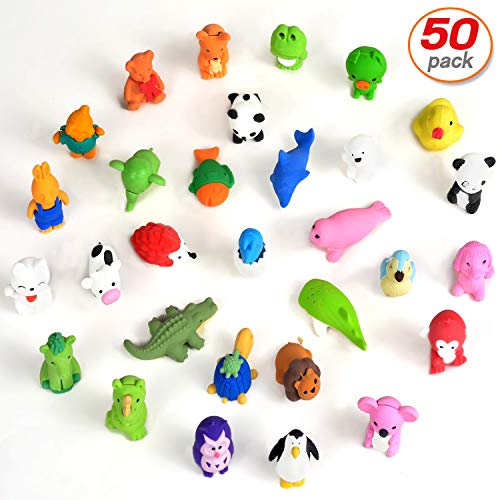 Yo-fobu 50 Pcs Pencil Erasers Animal Erasers 3D Cartoon Custom Shape Eraser Collection Party Favors Classroom Prizes | Carnival Gifts School Supplies -