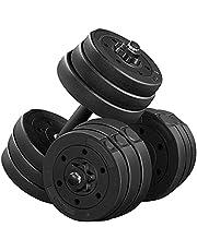 Yaheetech Set van 2 korte halterset van 20 kg met oppervlak van kunststof gietijzer halterset gewichten 4 x 2 kg / 4 x 1,5 kg / 4 x 1,25 kg