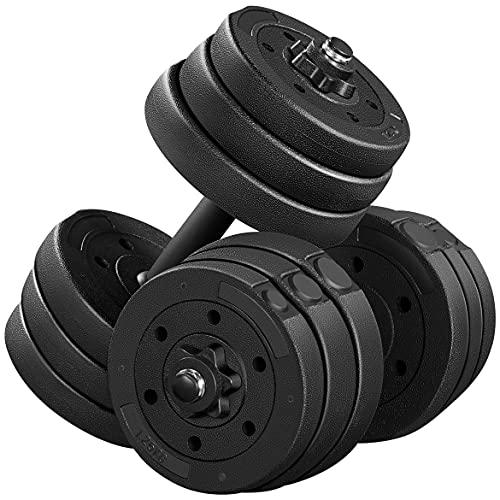 Yaheetech Set van 2 korte halterset van 20 kg met oppervlak van kunststof gietijzer halterset gewichten 4 x 2 kg / 4 x 1…