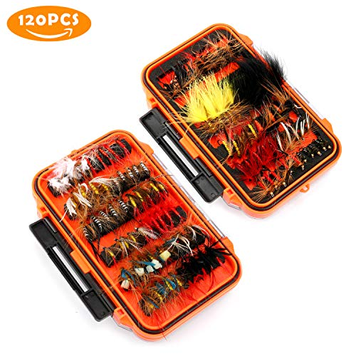 Buy Bargain Magreel Fly Fishing Flies Kit with Box, Dry Wet Flies, Nymphs, Streamers for Bass Salmon...