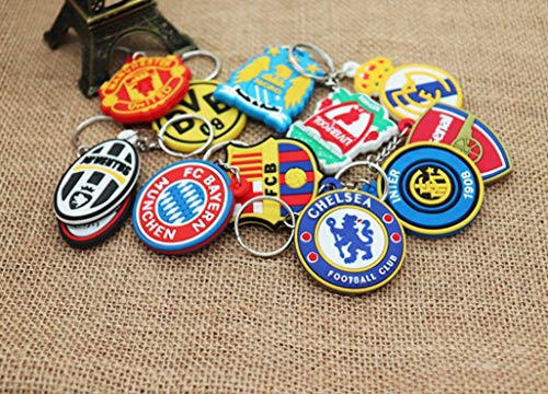 AG Goodies 12pcs Football Club Soccer Team Logo PVC Pendant Keychains Keyring Party Favors Goodie Bag Fillers