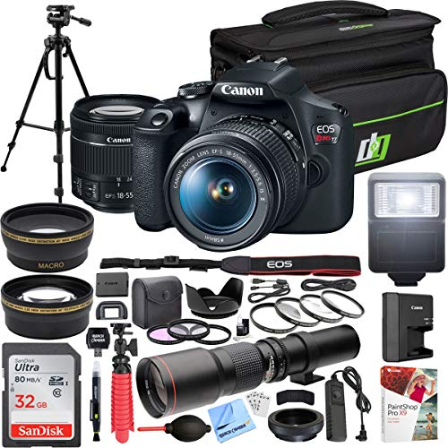 Canon EOS Rebel T7 DSLR Camera with with EF-S 18-55mm f/3.5-5.6 is II Lens Kit + 500mm Preset f/8 Telephoto Lens + 0.43x Wide Angle, 2.2X Pro Bundle