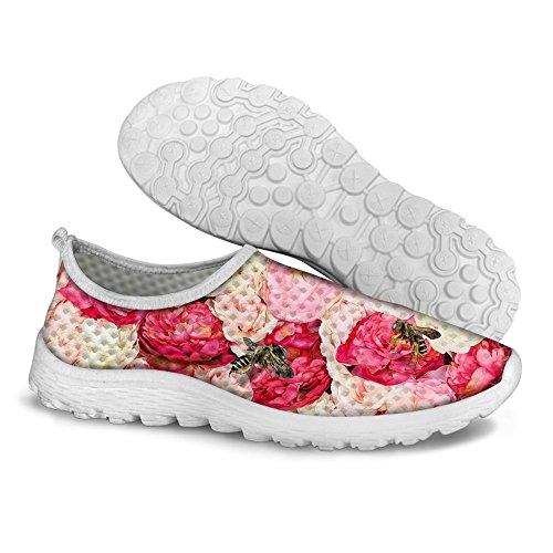 Per Te Disegni Elegante Rosa Maglia Stampa Floreale Traspirante Leggero Slip On Scarpe Da Corsa Per Donna E Uomo Rosa