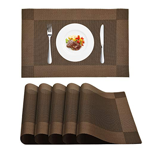 WLIFE Placemat, Heat-Resistant Placemats, Stain Resistant Washable PVC Table Mats, Cross Weave Non-Slip Vinyl Table Mat 18