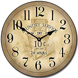 Vintage Laundry Room Wall Clock, Available in 8 Sizes, Most Sizes Ship The Next Business Day, Whisper Quiet.