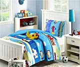 Best Seller Airplanes,Truck Boys Chic Comforter Set,Sheet Set, 6 Pcs Twin