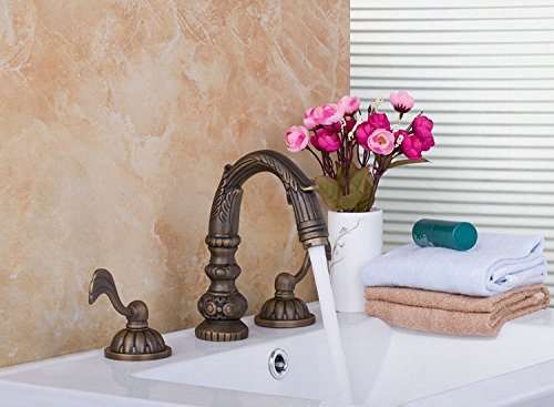 GOWE Wash Basin Double Handles Antique Brass Waterfall Deck Mount Bathroom Basin Sink Bathtub Mixer Tap Faucet 0